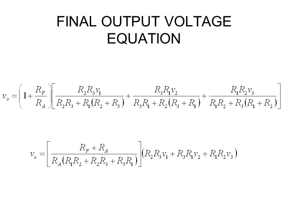 FINAL OUTPUT VOLTAGE EQUATION