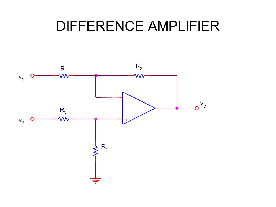 DIFFERENCE AMPLIFIER R3R3 v1v1 v2v2 R1R1 + - R2R2 vovo R4R4