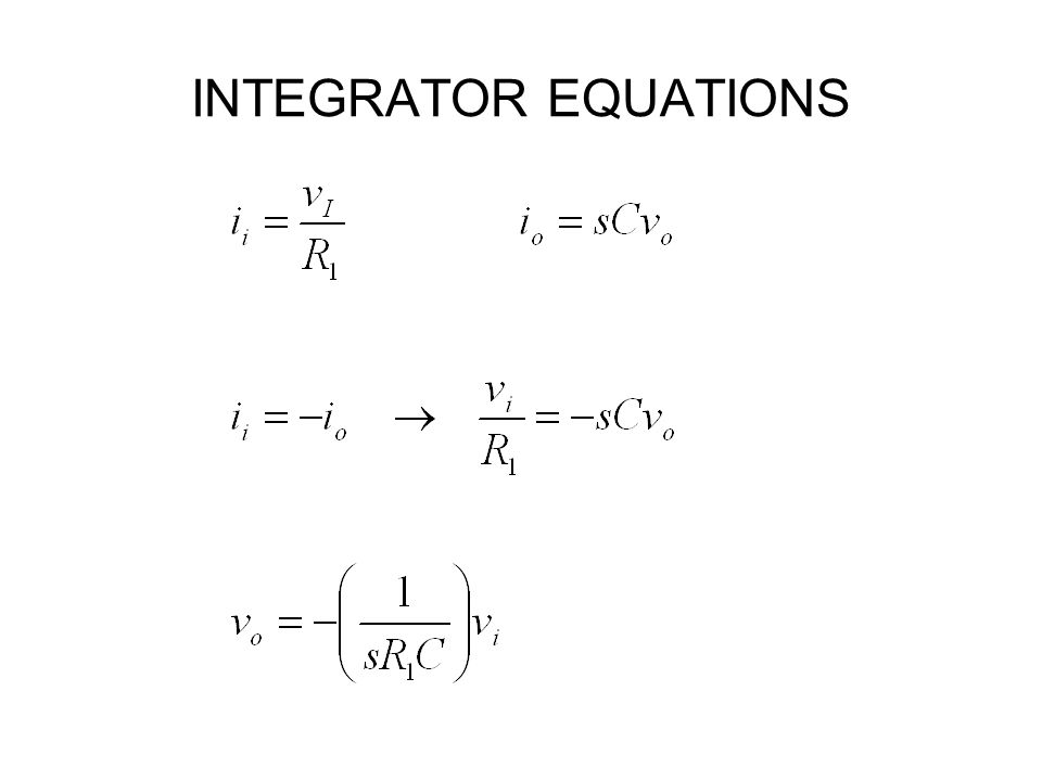 INTEGRATOR EQUATIONS