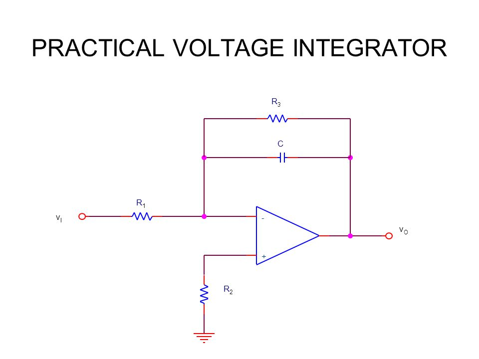 PRACTICAL VOLTAGE INTEGRATOR + - vIvI R1R1 R2R2 vOvO R3R3 C