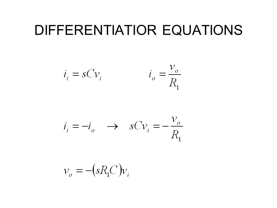 DIFFERENTIATIOR EQUATIONS