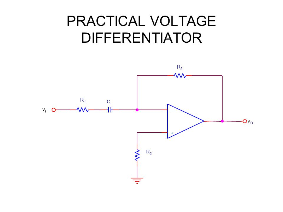 PRACTICAL VOLTAGE DIFFERENTIATOR + - vivi C R1R1 R2R2 vOvO R3R3
