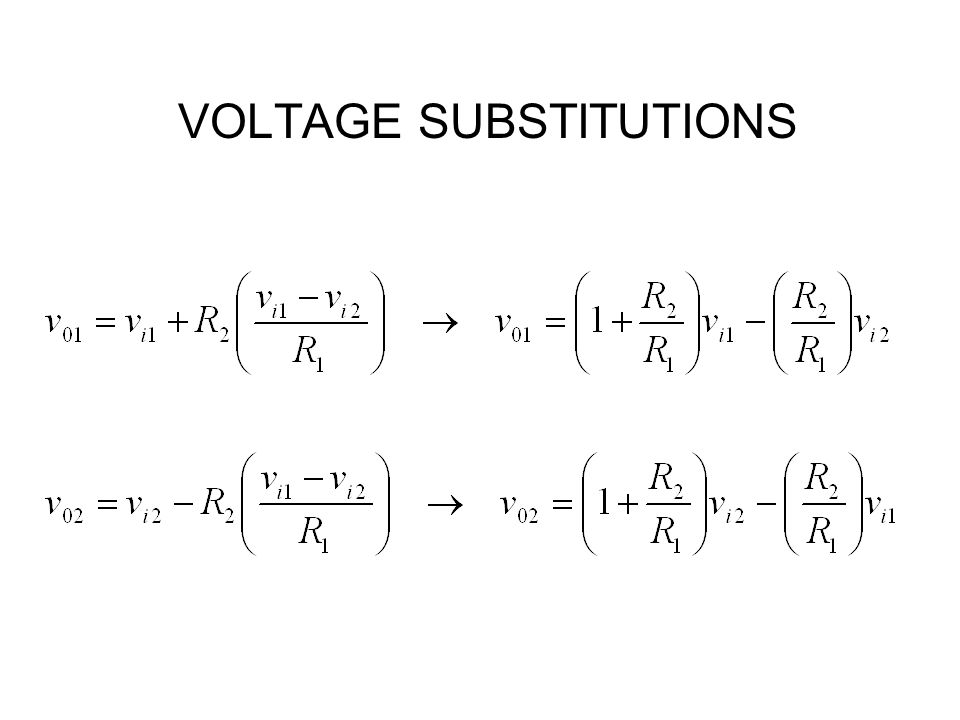 VOLTAGE SUBSTITUTIONS