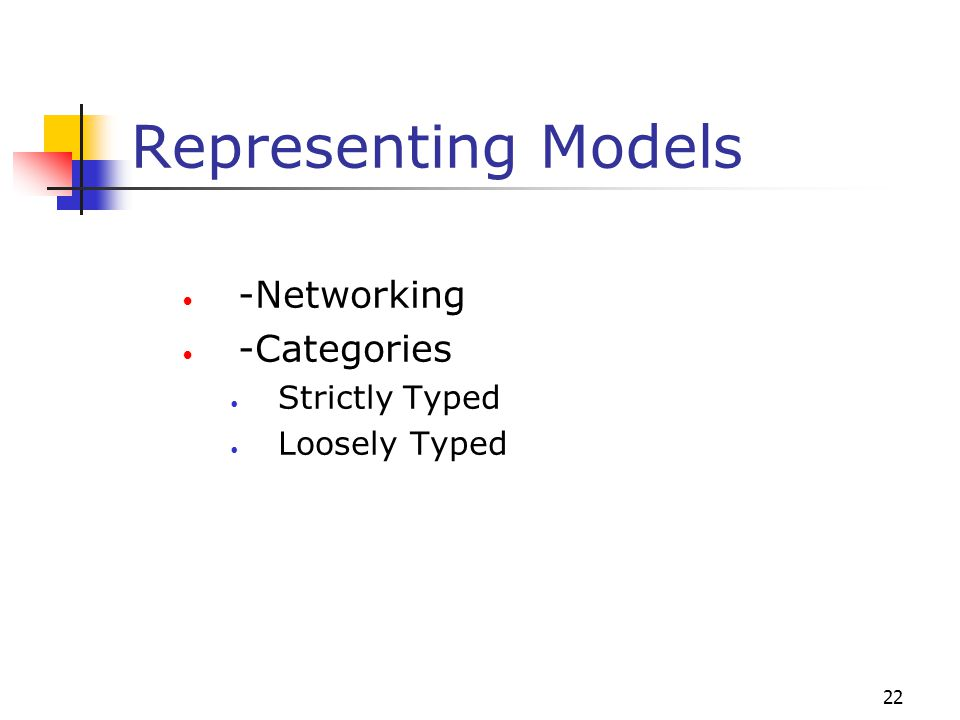 22 Representing Models -Networking -Categories Strictly Typed Loosely Typed