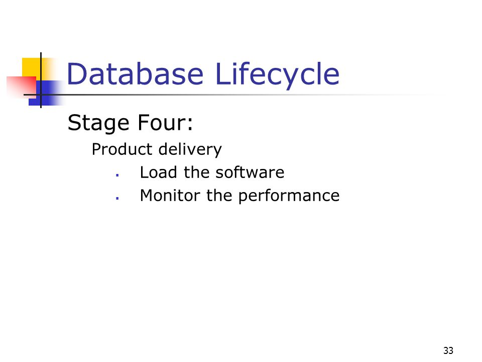 33 Database Lifecycle Stage Four: Product delivery  Load the software  Monitor the performance