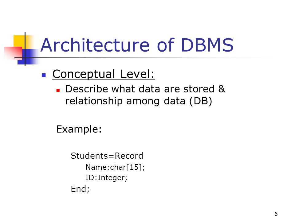 6 Architecture of DBMS Conceptual Level: Describe what data are stored & relationship among data (DB) Example: Students=Record Name:char[15]; ID:Integer; End;