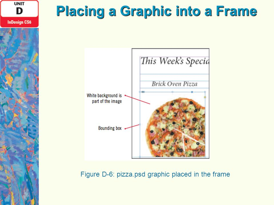 Figure D-6: pizza.psd graphic placed in the frame