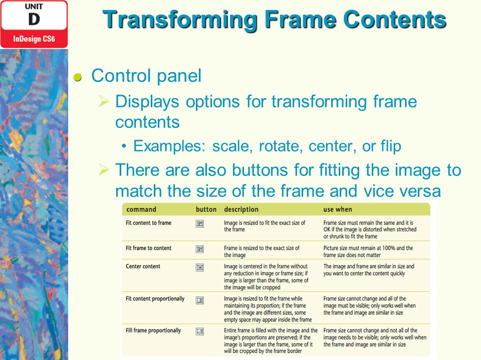 Transforming Frame Contents Control panel  Displays options for transforming frame contents Examples: scale, rotate, center, or flip  There are also buttons for fitting the image to match the size of the frame and vice versa