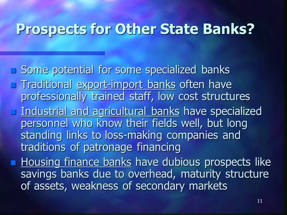 11 Prospects for Other State Banks.