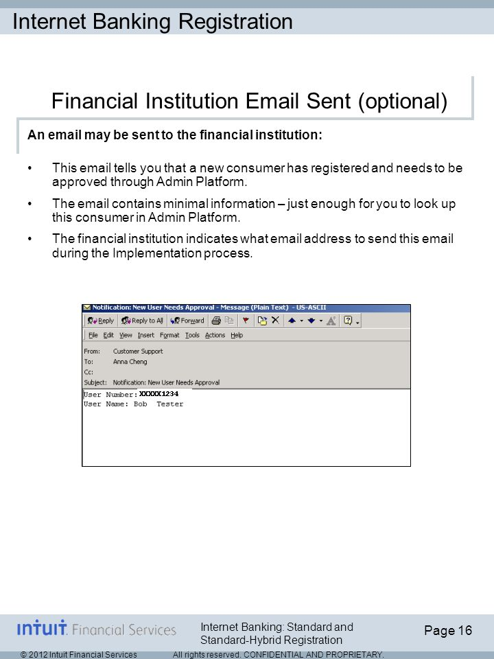 Internet Banking Registration © 2012 Intuit Financial Services All rights reserved.