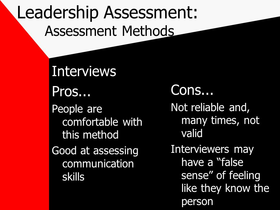 Leadership Assessment: Assessment Methods Interviews Pros...
