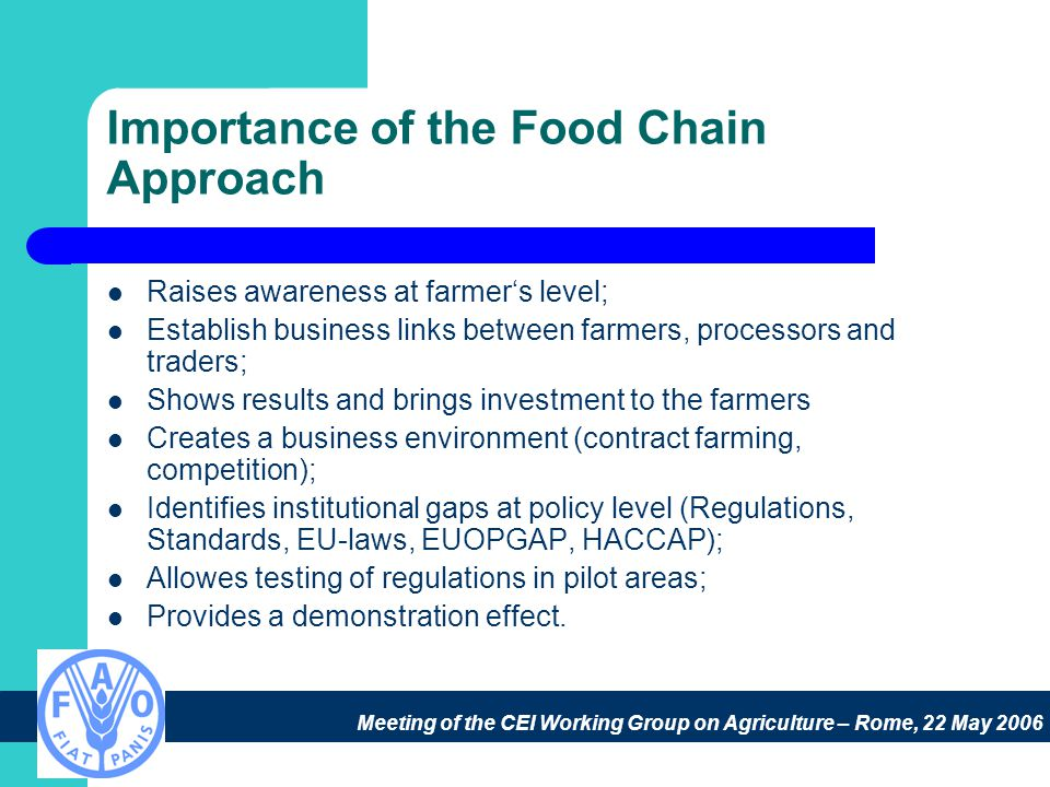 Meeting of the CEI Working Group on Agriculture – Rome, 22 May 2006 Importance of the Food Chain Approach Raises awareness at farmer's level; Establish business links between farmers, processors and traders; Shows results and brings investment to the farmers Creates a business environment (contract farming, competition); Identifies institutional gaps at policy level (Regulations, Standards, EU-laws, EUOPGAP, HACCAP); Allowes testing of regulations in pilot areas; Provides a demonstration effect.