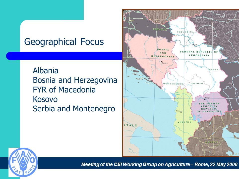 Meeting of the CEI Working Group on Agriculture – Rome, 22 May 2006 Geographical Focus Albania Bosnia and Herzegovina FYR of Macedonia Kosovo Serbia and Montenegro