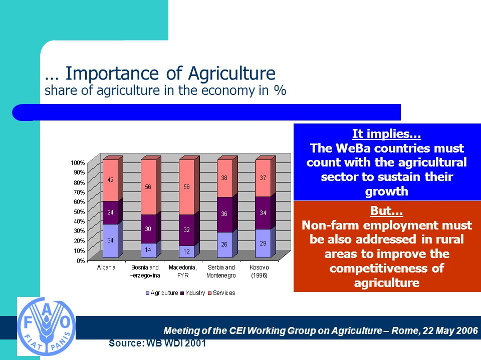 Meeting of the CEI Working Group on Agriculture – Rome, 22 May 2006 … Importance of Agriculture share of agriculture in the economy in % Source: WB WDI 2001 It implies… The WeBa countries must count with the agricultural sector to sustain their growth But… Non-farm employment must be also addressed in rural areas to improve the competitiveness of agriculture