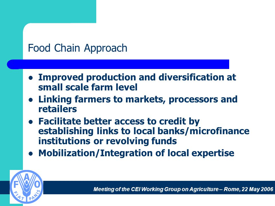Meeting of the CEI Working Group on Agriculture – Rome, 22 May 2006 Food Chain Approach Improved production and diversification at small scale farm level Linking farmers to markets, processors and retailers Facilitate better access to credit by establishing links to local banks/microfinance institutions or revolving funds Mobilization/Integration of local expertise