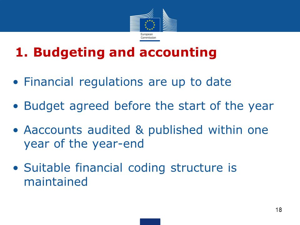 Financial regulations are up to date Budget agreed before the start of the year Aaccounts audited & published within one year of the year-end Suitable financial coding structure is maintained 1.Budgeting and accounting 18