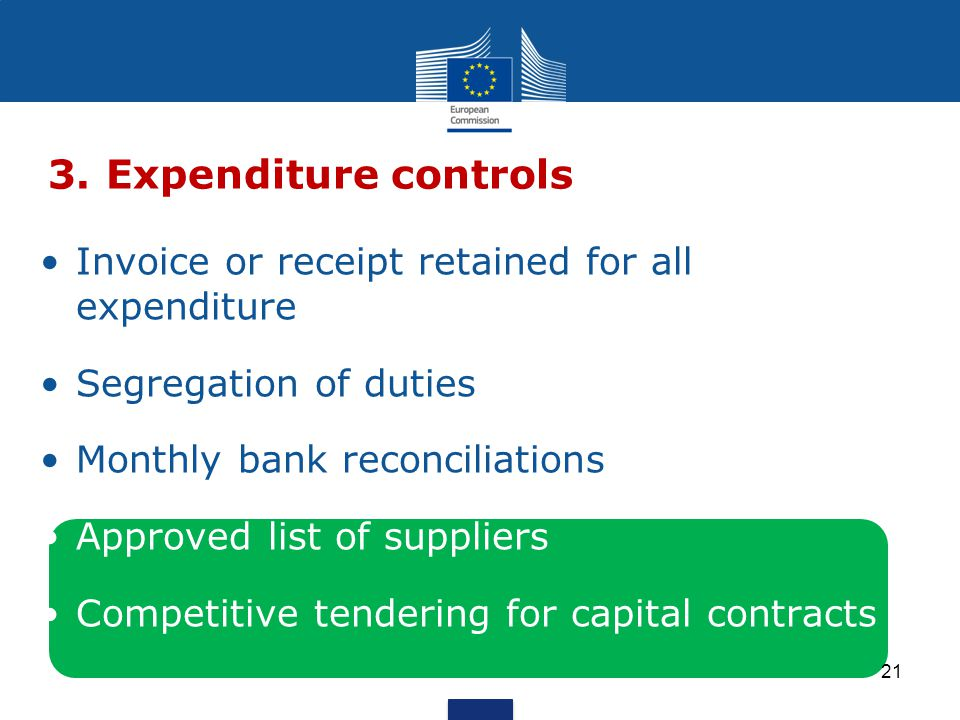 Invoice or receipt retained for all expenditure Segregation of duties Monthly bank reconciliations Approved list of suppliers Competitive tendering for capital contracts 3.Expenditure controls 21