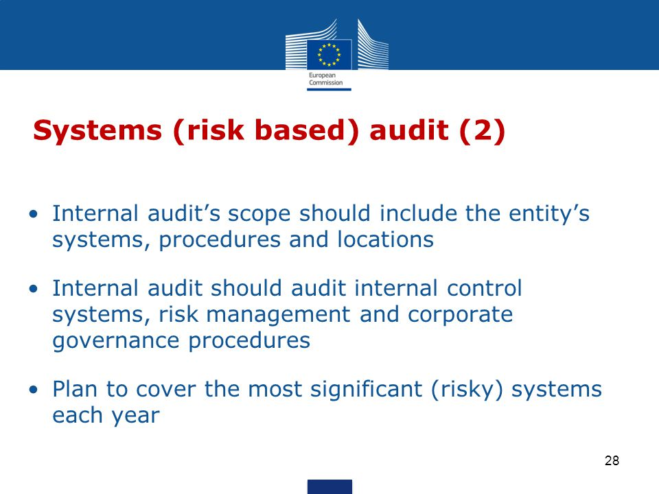 Internal audit's scope should include the entity's systems, procedures and locations Internal audit should audit internal control systems, risk management and corporate governance procedures Plan to cover the most significant (risky) systems each year Systems (risk based) audit (2) 28