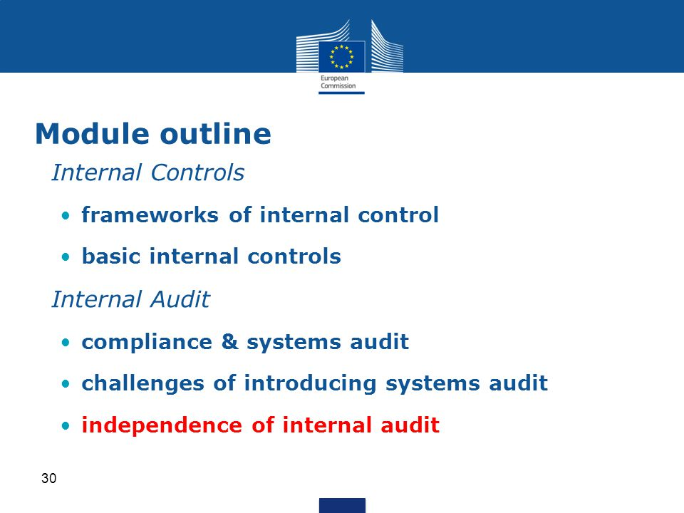 Internal Controls frameworks of internal control basic internal controls Internal Audit compliance & systems audit challenges of introducing systems audit independence of internal audit Module outline 30