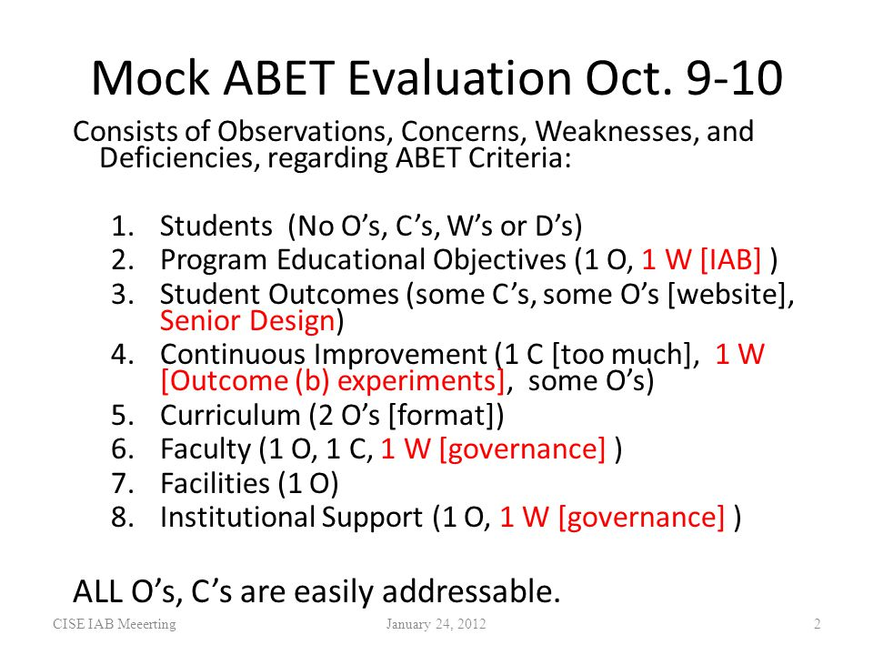 Mock ABET Evaluation Oct.