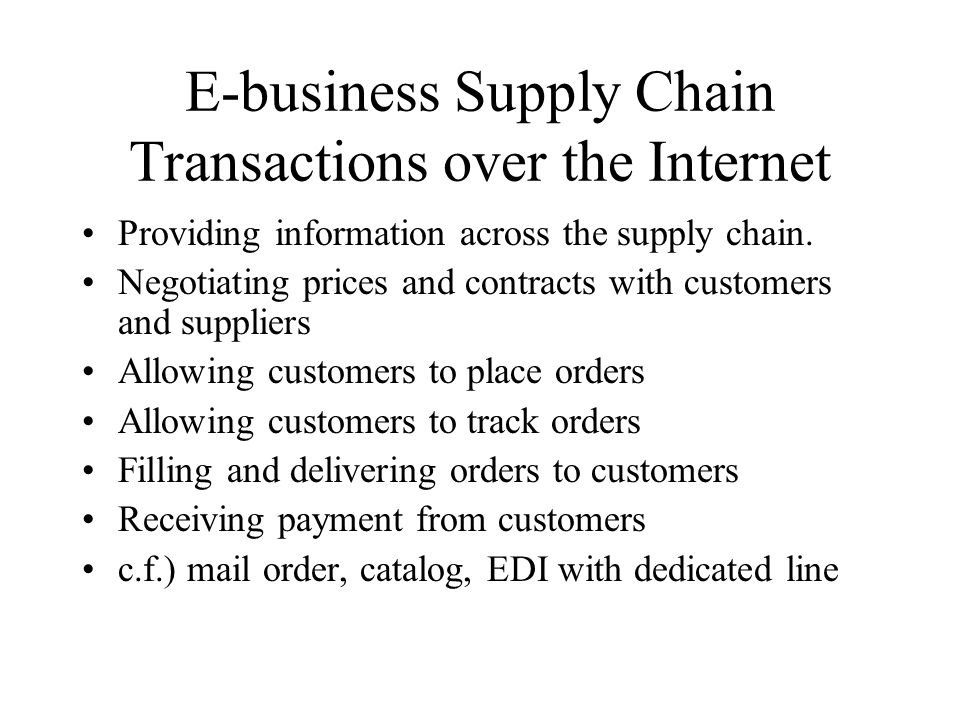E-business Supply Chain Transactions over the Internet Providing information across the supply chain.