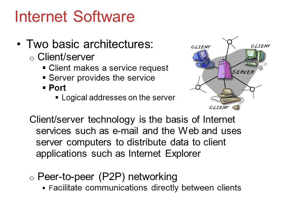 Internet Software Two basic architectures: o Client/server  Client makes a service request  Server provides the service  Port  Logical addresses on the server Client/server technology is the basis of Internet services such as  and the Web and uses server computers to distribute data to client applications such as Internet Explorer o Peer-to-peer (P2P) networking  F acilitate communications directly between clients