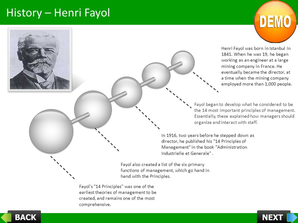 History – Henri Fayol Henri Fayol was born in Istanbul in 1841. When he was 19, he began working as an engineer at a large mining company in France. H