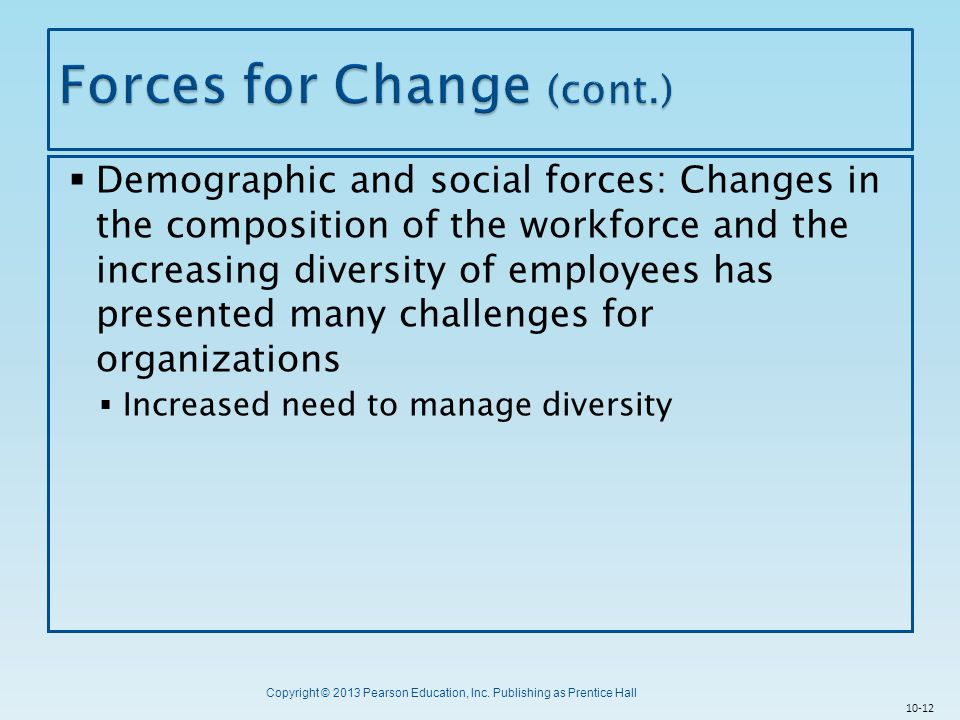 Copyright © 2013 Pearson Education, Inc. Publishing as Prentice Hall  Demographic and social forces: Changes in the composition of the workforce and