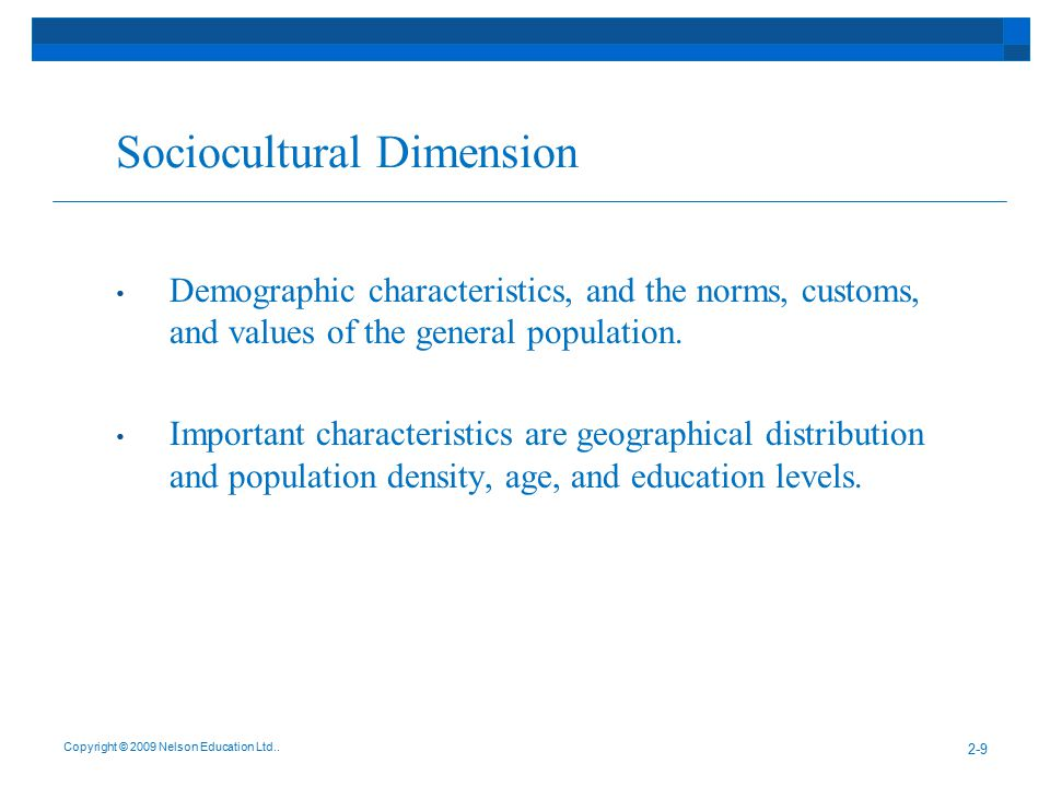 Sociocultural Dimension (Cont'd) Key demographic trends in Canada: Visible minorities will make up 20% of the Canadian population by the year 2016.
