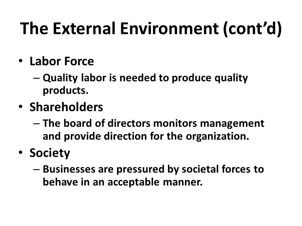 The External Environment (cont'd) Labor Force – Quality labor is needed to produce quality products.