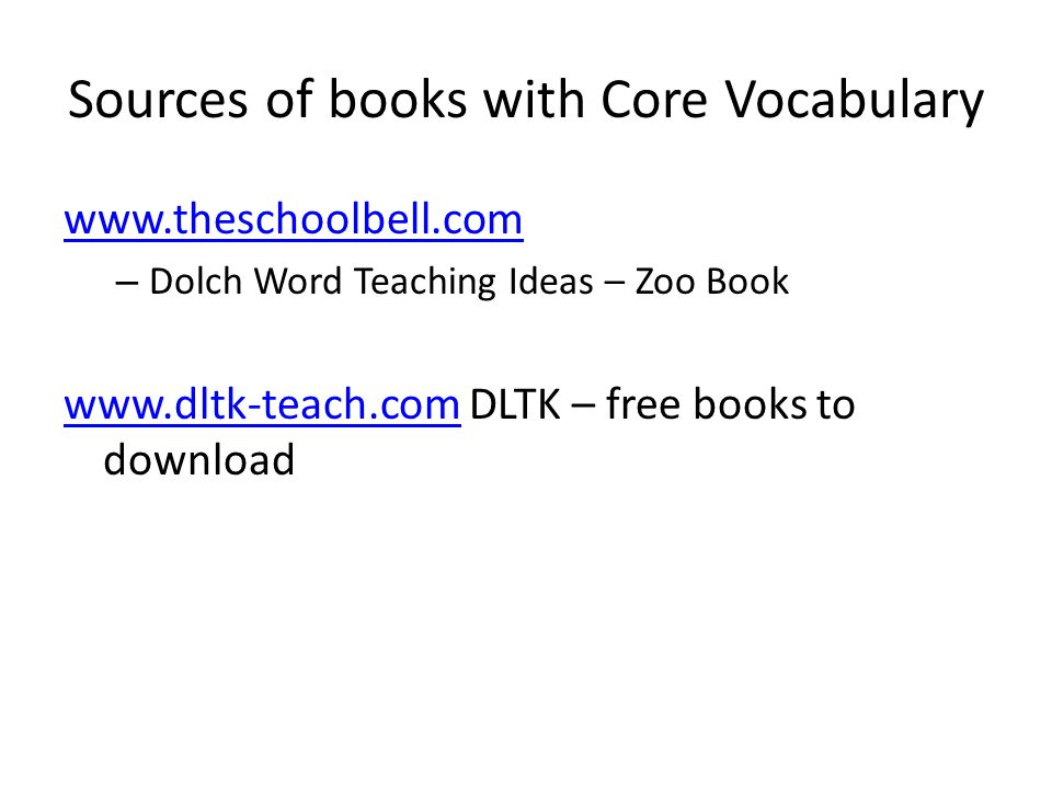 28 sources of books with core vocabulary wwwtheschoolbellcom dolch word teaching ideas zoo book wwwdltk teachcomwwwdltk teachcom dltk free books