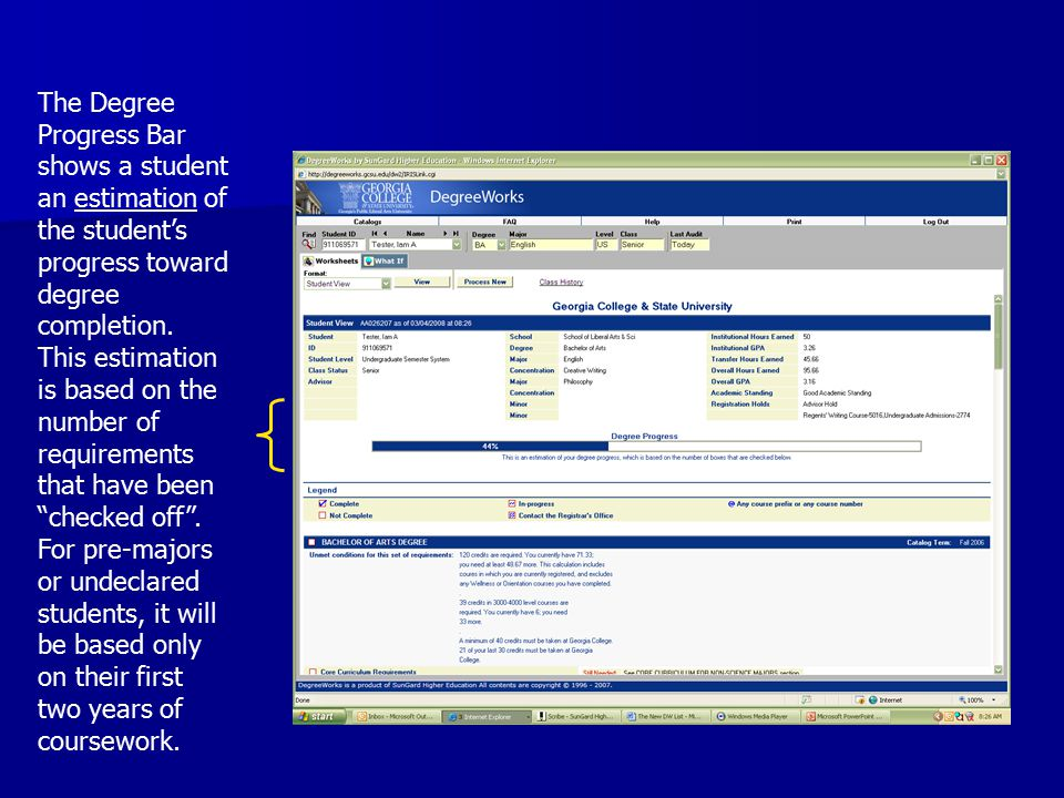The Degree Progress Bar shows a student an estimation of the student's progress toward degree completion.