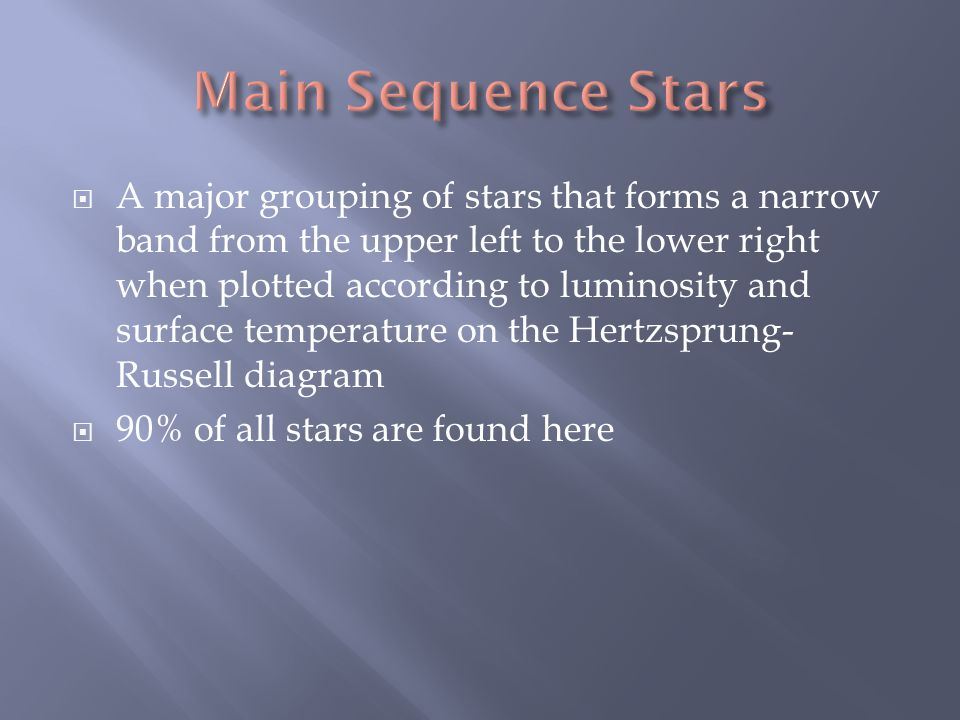  A major grouping of stars that forms a narrow band from the upper left to the lower right when plotted according to luminosity and surface temperature on the Hertzsprung- Russell diagram  90% of all stars are found here