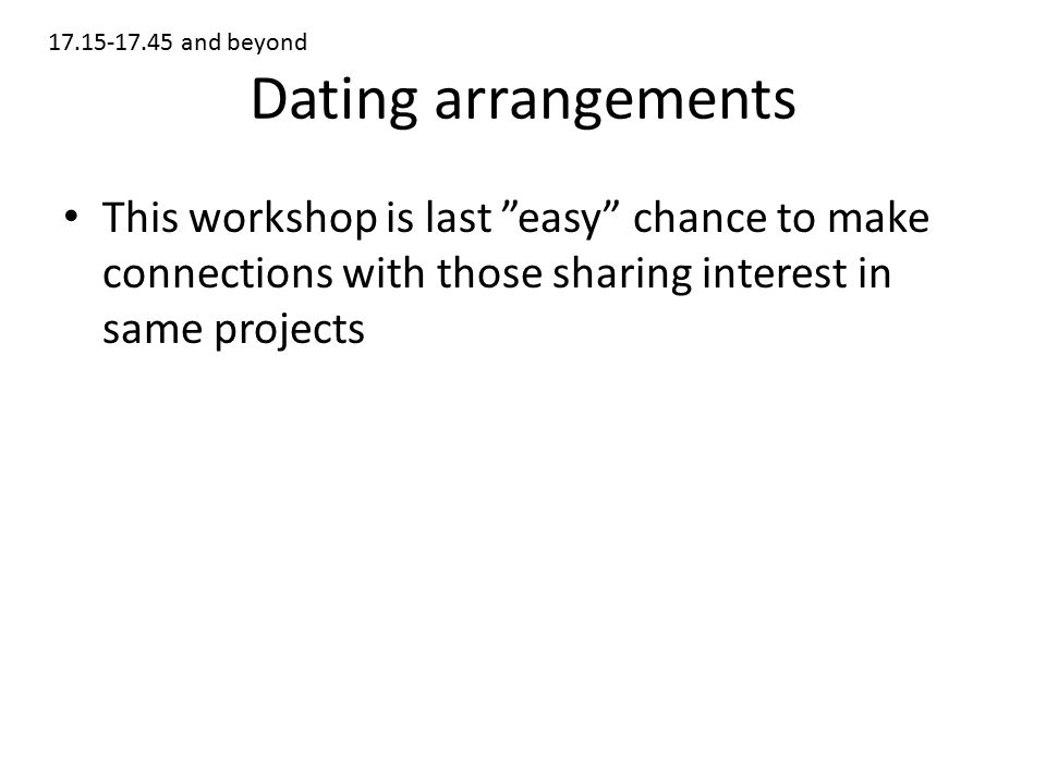 Dating arrangements This workshop is last easy chance to make connections with those sharing interest in same projects and beyond