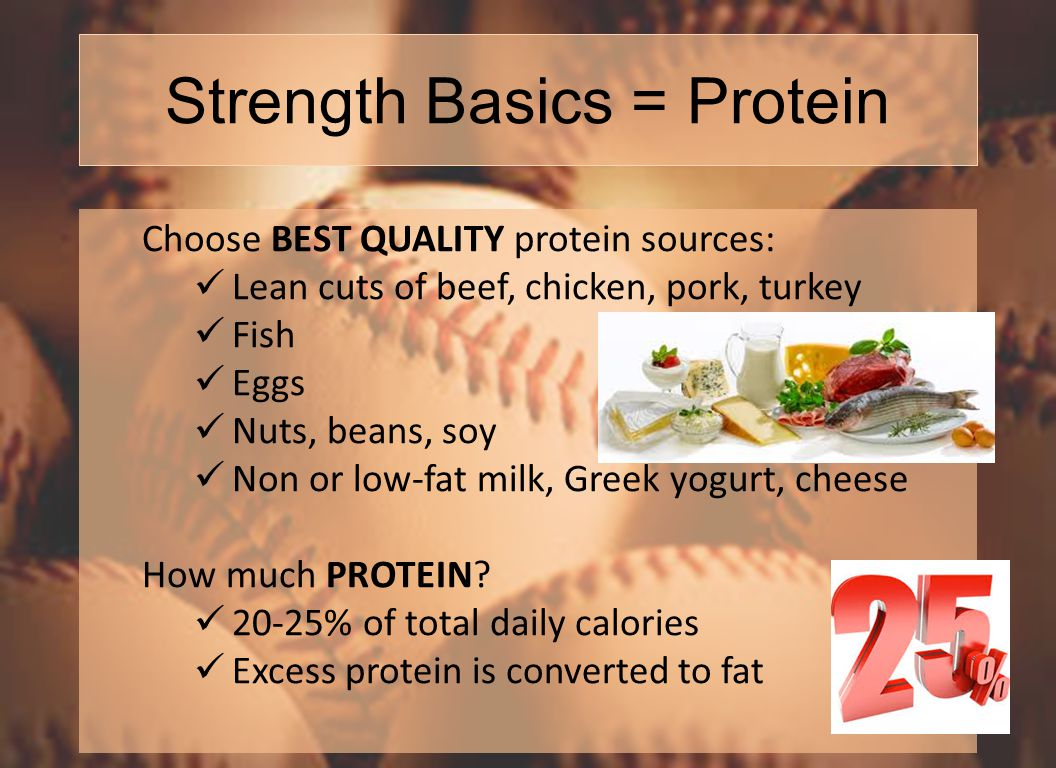 Strength Basics = Protein Choose BEST QUALITY protein sources: Lean cuts of beef, chicken, pork, turkey Fish Eggs Nuts, beans, soy Non or low-fat milk, Greek yogurt, cheese How much PROTEIN.