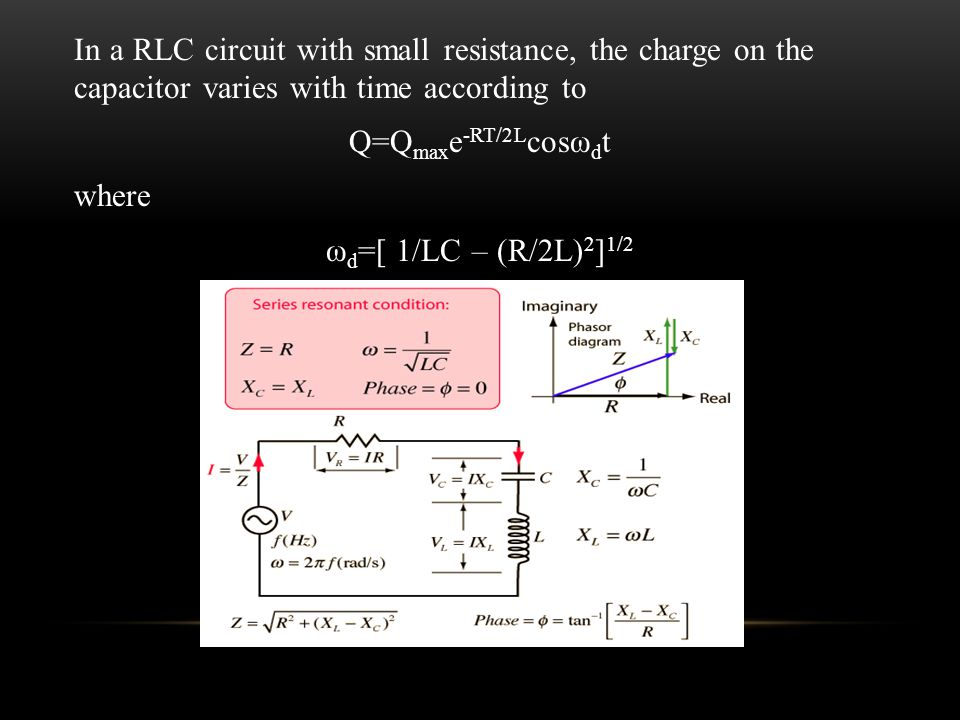 In a RLC circuit with small resistance, the charge on the capacitor varies with time according to Q=Q max e -RT/2L cosω d t where ω d =[ 1/LC – (R/2L) 2 ] 1/2