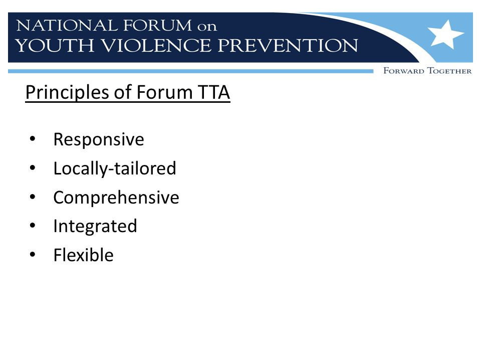 Principles of Forum TTA Responsive Locally-tailored Comprehensive Integrated Flexible