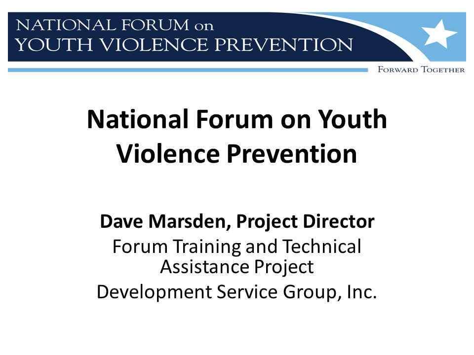 National Forum on Youth Violence Prevention Dave Marsden, Project Director Forum Training and Technical Assistance Project Development Service Group, Inc.