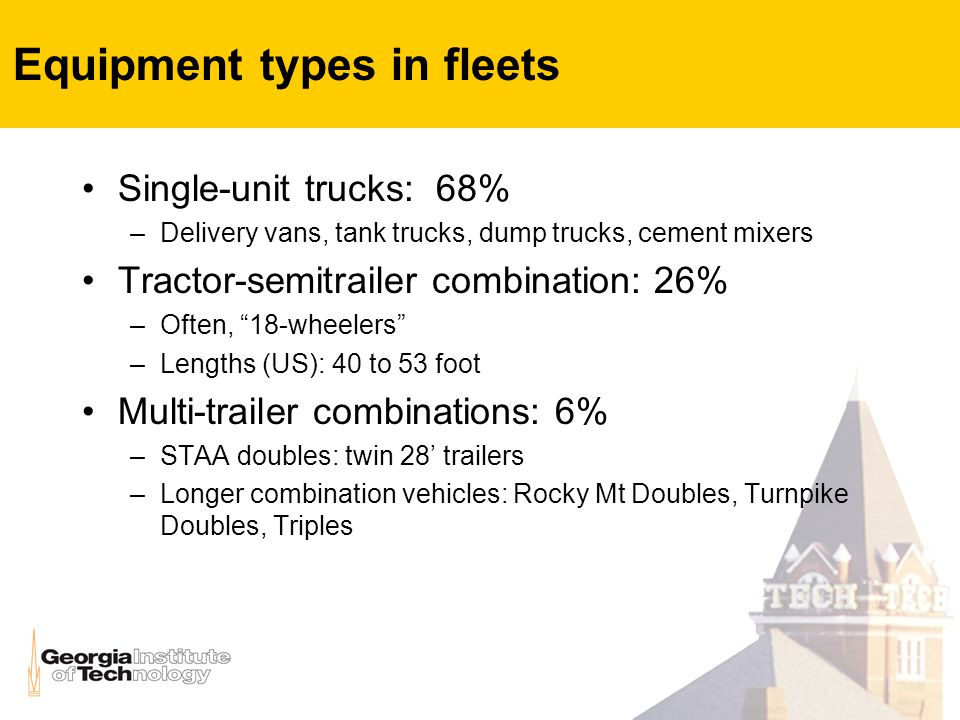 Equipment types in fleets Single-unit trucks: 68% –Delivery vans, tank trucks, dump trucks, cement mixers Tractor-semitrailer combination: 26% –Often, 18-wheelers –Lengths (US): 40 to 53 foot Multi-trailer combinations: 6% –STAA doubles: twin 28' trailers –Longer combination vehicles: Rocky Mt Doubles, Turnpike Doubles, Triples