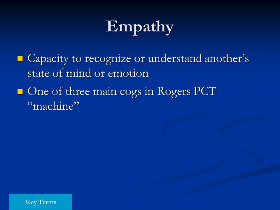 Empathy Capacity to recognize or understand another's state of mind or emotion Capacity to recognize or understand another's state of mind or emotion