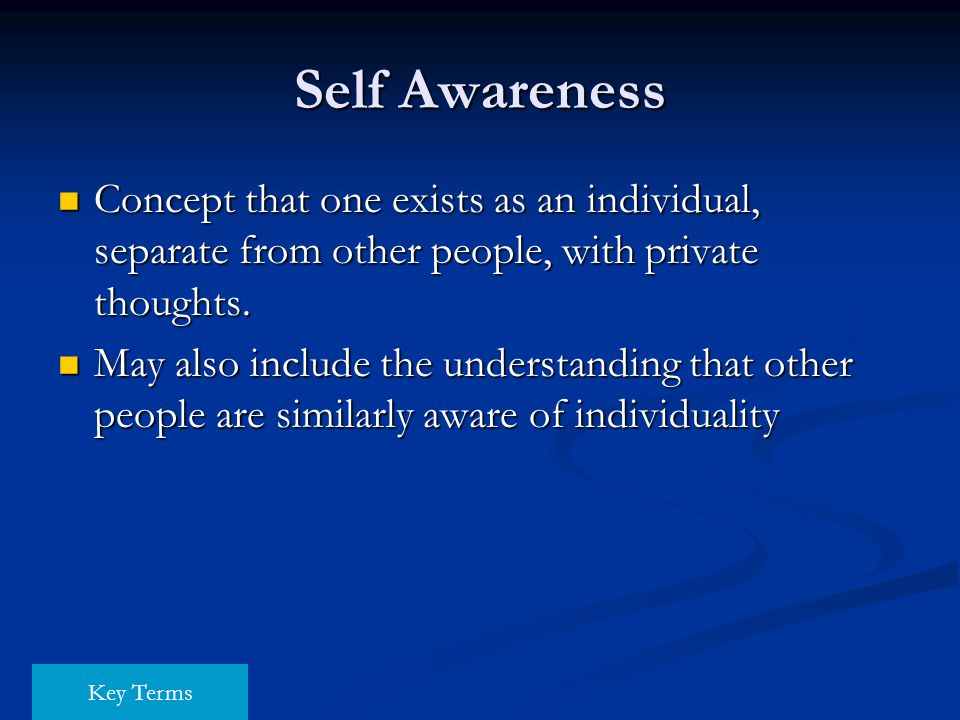 Self Awareness Concept that one exists as an individual, separate from other people, with private thoughts. Concept that one exists as an individual,