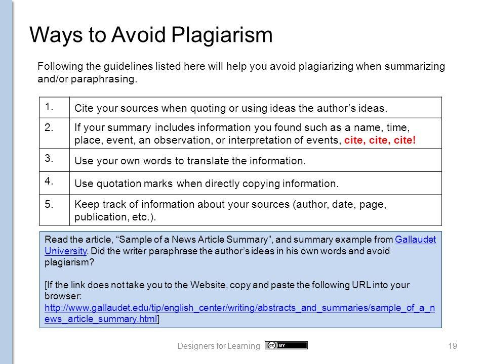 Paraphrasing and Summarizing Writing 1 Designers for Learning ...