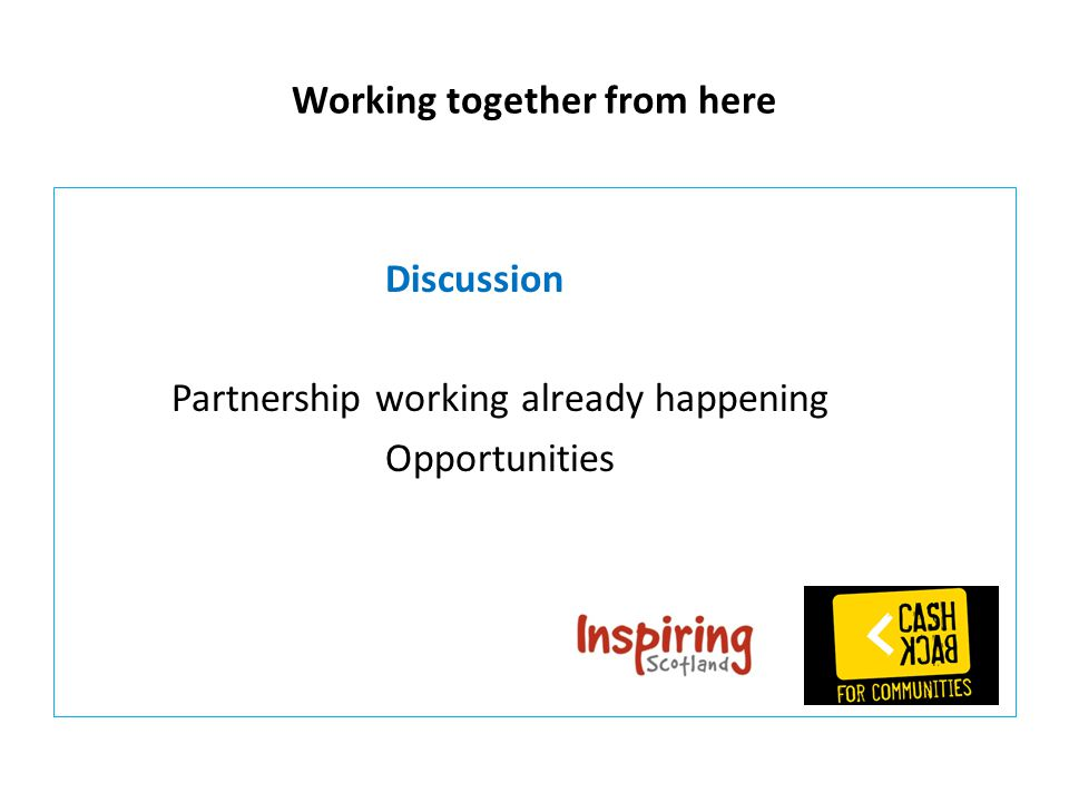 Working together from here Discussion Partnership working already happening Opportunities