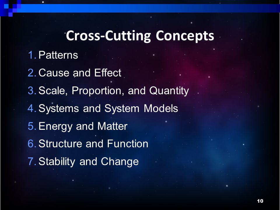 10 Cross-Cutting Concepts 1.Patterns 2.Cause and Effect 3.Scale, Proportion, and Quantity 4.Systems and System Models 5.Energy and Matter 6.Structure and Function 7.Stability and Change