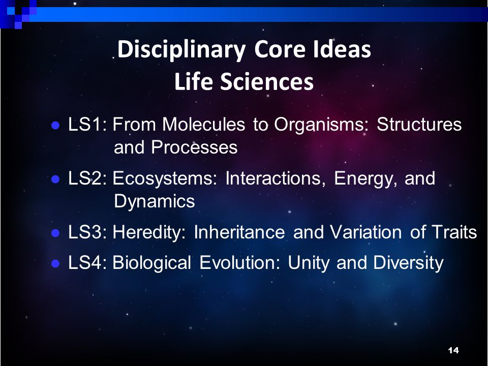 14 Disciplinary Core Ideas Life Sciences ● LS1: From Molecules to Organisms: Structures and Processes ● LS2: Ecosystems: Interactions, Energy, and Dynamics ● LS3: Heredity: Inheritance and Variation of Traits ● LS4: Biological Evolution: Unity and Diversity