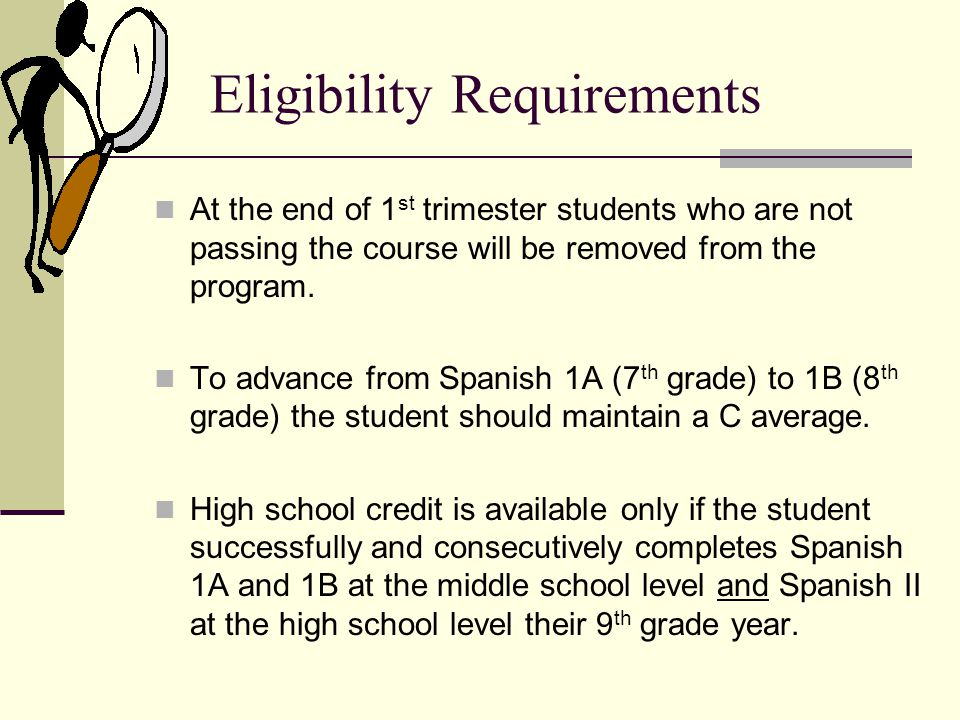 Eligibility Requirements At the end of 1 st trimester students who are not passing the course will be removed from the program.