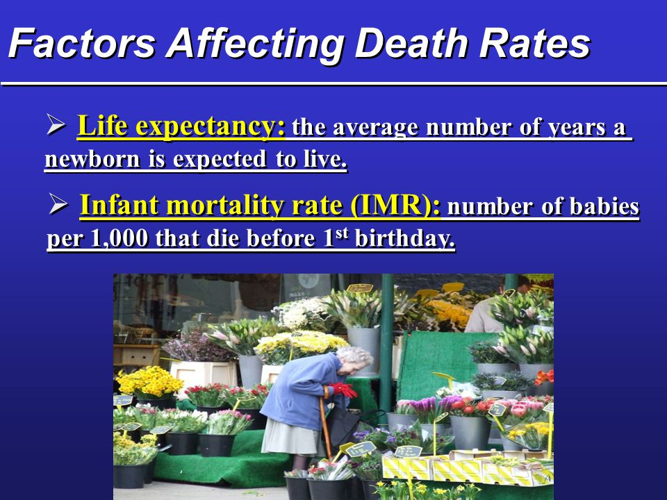 Factors Affecting Death Rates  Life expectancy: the average number of years a newborn is expected to live.