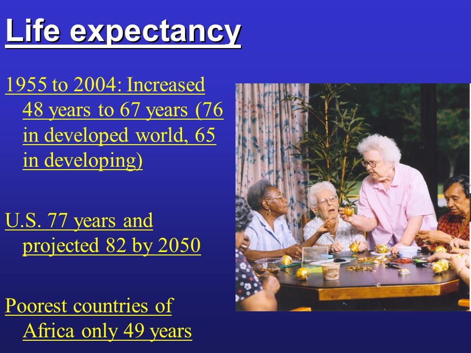 Life expectancy 1955 to 2004: Increased 48 years to 67 years (76 in developed world, 65 in developing) U.S.
