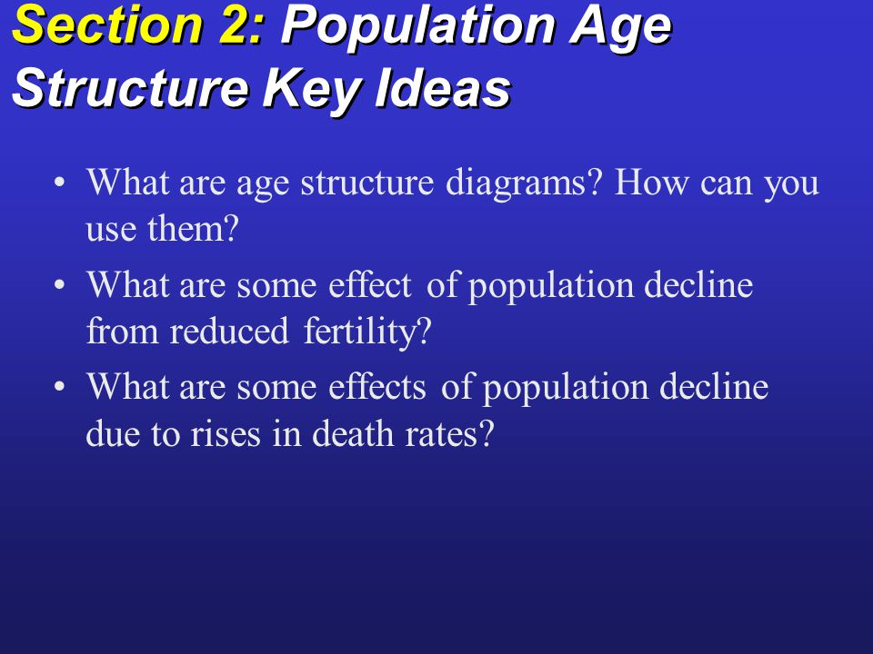 Section 2: Population Age Structure Key Ideas What are age structure diagrams.