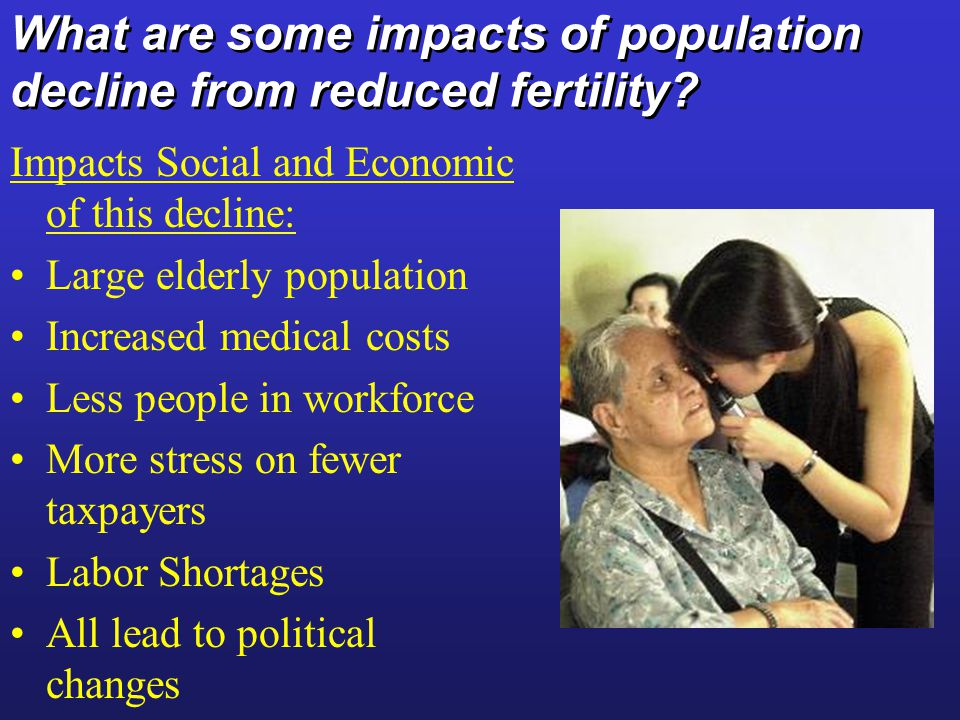 What are some impacts of population decline from reduced fertility.